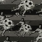 Úplet potisk fotbalista s míčem na černo - šedých pruzích