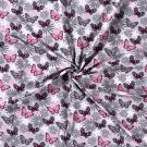 Úplet potisk růžoví a šedí motýlci na světle šedé
