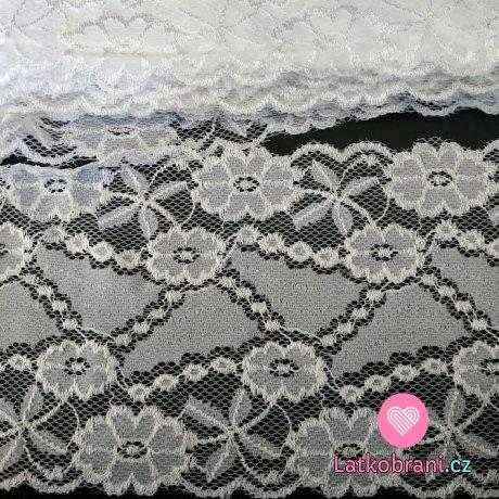 Krajka elastická šíře 16 cm bílá