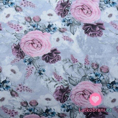 Teplákovina potisk romantické růže na šedo - bílém podkladu