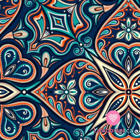Teplákovina potisk zářivé ornamenty na modré