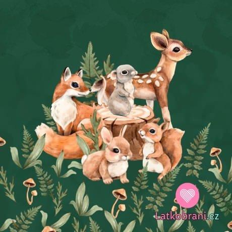 Panel mláďátka z lesa na zelené