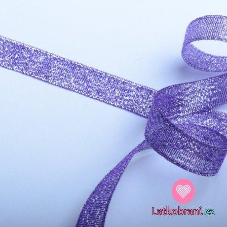 Stuha lurexová purpurově fialová 12 mm