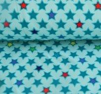 Softshell hvězdy ohraničené na modré s fleecem