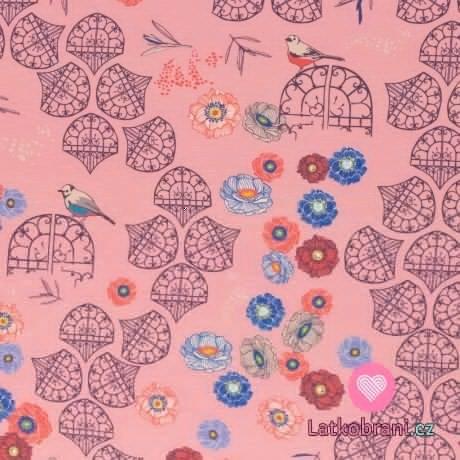 Viskózový úplet potisk retro ptáčci v zahradě na růžové