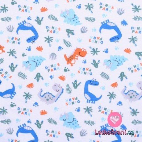 Bavlněný úplet modří dinosauři na bílé
