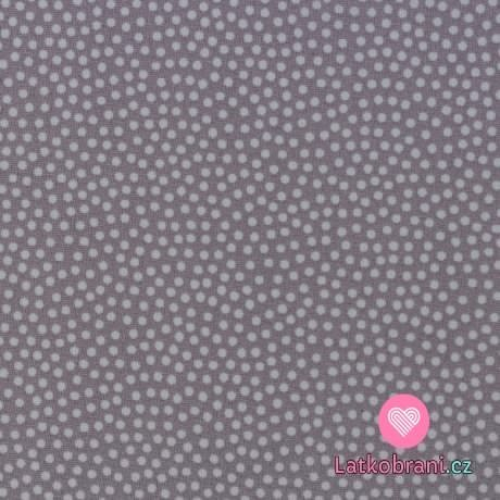 Bavlněné plátno drobné puntíky na šedé