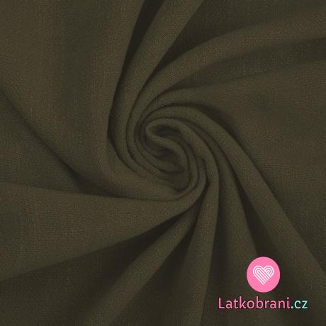 Viskóza s příměsí lnu jednobarevná khaki