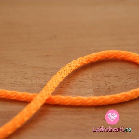 Šňůra kulatá oděvní PES 4 mm oranžová blatouchová