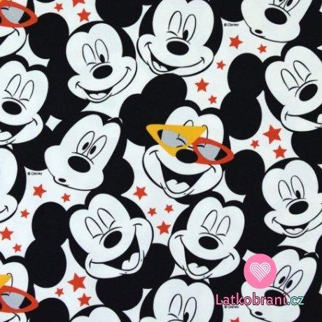 Úplet potisk Mickeyho hlavičky a hvězdičky na bílé