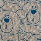 Teplákovina potisk modrý medvídek Méďa na béžové rybí kosti