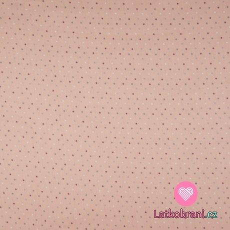 Bavlněný popelín potisk puntíky na růžové