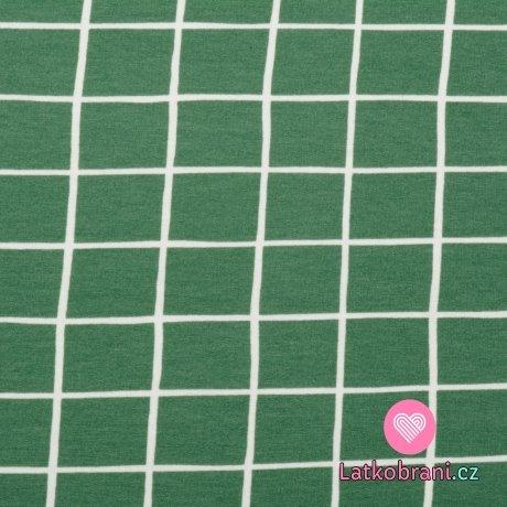 Teplákovina počesaná potisk zelená mřížka, BIO