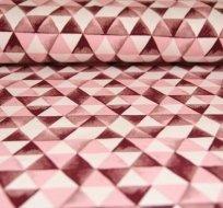 Teplákovina POČESANÁ trojúhelníčky bordo na růžové