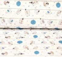 Bavlněný úplet zpívající ptáček s modrým stromem na bílé