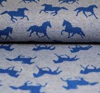 Teplákovina POČESANÁ kůň na jeansově modré -ZBYTEK