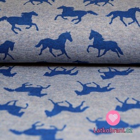 Teplákovina POČESANÁ kůň na jeansově modré