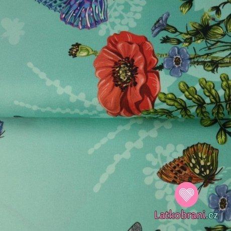 Úplet bordura vlčí mák, motýlci na petrolejové