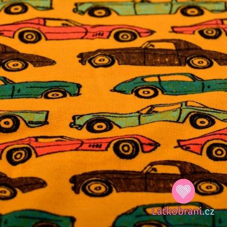 Teplákovina počesaná barevná auta na okrové