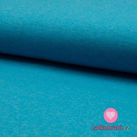 Jednobarevný úplet vodní modrá melange