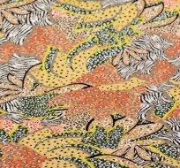 Úplet potisk viskózový abstraktní květy limetko-zelená s prvky starorůžové