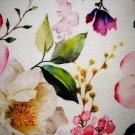 Teplákovina potisk jabloňový květ drobnější design