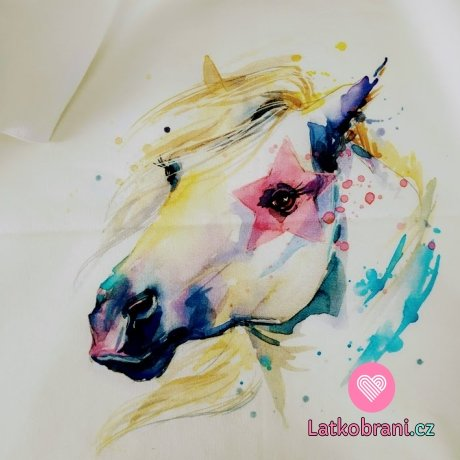Panel bílý kůň se zlatou hřívou na zaprášené bílé