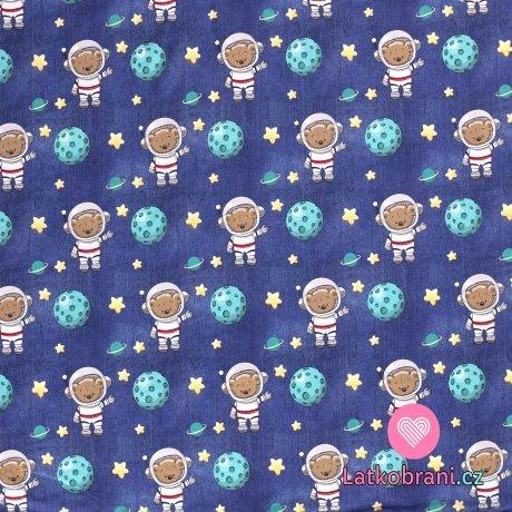 Teplákovina potisk méďa kosmonaut na modrém jeans