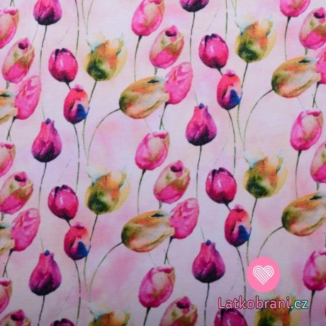 Úplet potisk tulipány na zaprášené růžové 180 g