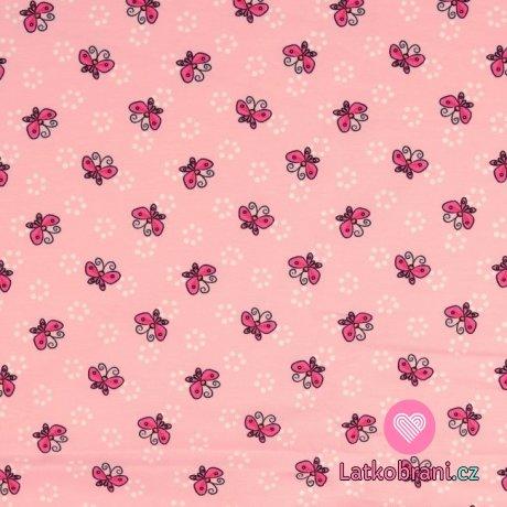 Úplet potisk růžoví motýlci na růžové
