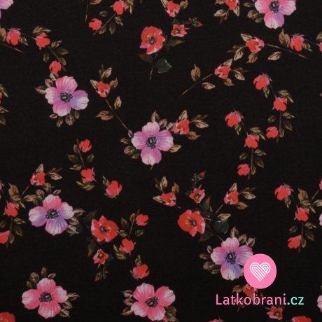 Silky / umělé hedvábí / pavučinka potisk jarní kvítka na černé