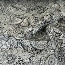Teplákovina černobílé květy, ornamenty mandaly