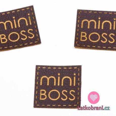 """Štítek na oblečení """"mini boss"""", koženkový, imitace tmavé kůže"""