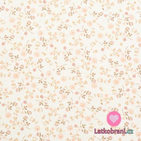 Bavlněný popelín potisk jemná růžová kvítka na bílé