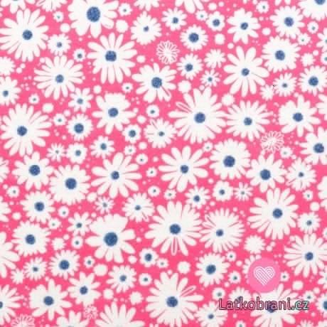Bavlněný jednolícní úplet kopretiny na růžové