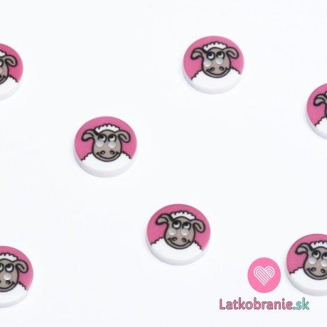 Knoflík kulatý, dětský s ovečkou na růžové