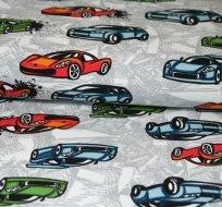 Teplákovina závodní auta modré, zelené na šedé