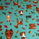 Úplet lesní zvířátka srnka, medvěd, veverka na smaragdovo-petrolejové