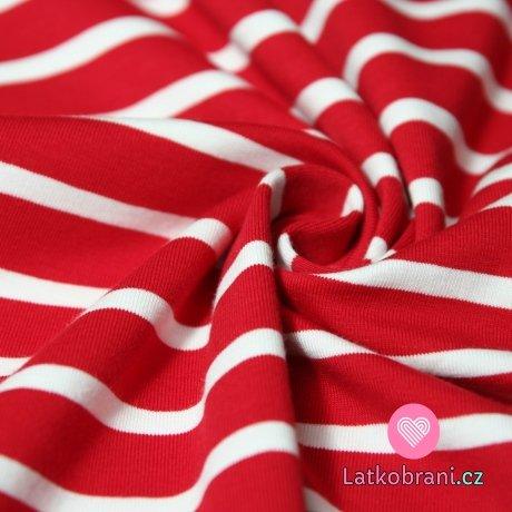 Úplet červené proužky širší s bílými užšími