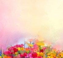 Panel akvarelová květinová zahrádka na růžové