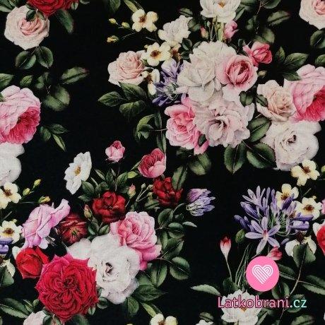 Úplet potisk kytice růží na černé