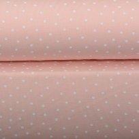 Úplet potisk rozházený drobný  bílý  puntík na dětské růžové