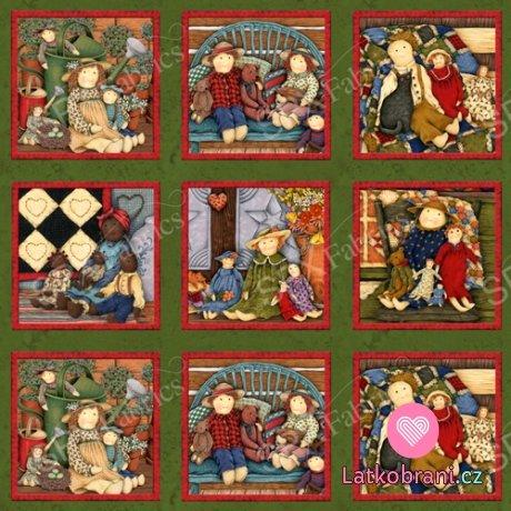 Bavlněná látka Primitive Dolls - plátno