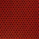Úplet potisk nepravidelné černé puntíky na cihlové