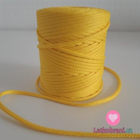 Šňůra oděvní kulatá  PES 4 mm žlutá sluníčková