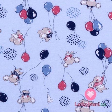 Bavlněný úplet myšky s balónky na modré