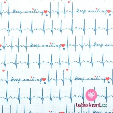 Úplet potisk křivka EKG na bílé