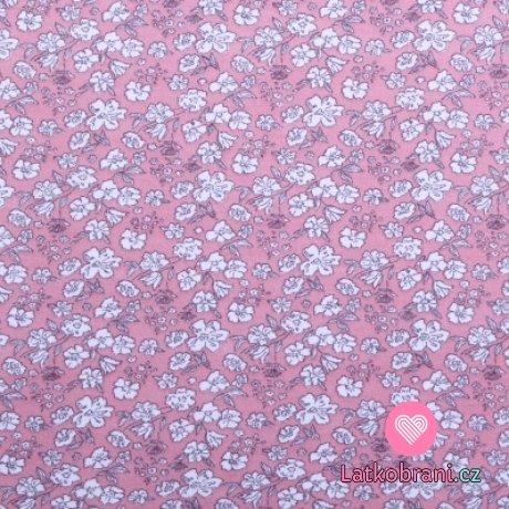 Bavlněný úplet bílá kvítečka na růžové