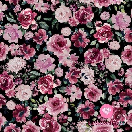 Teplákovina počesaná potisk rozkvetlé růžové květy na černé, BIO