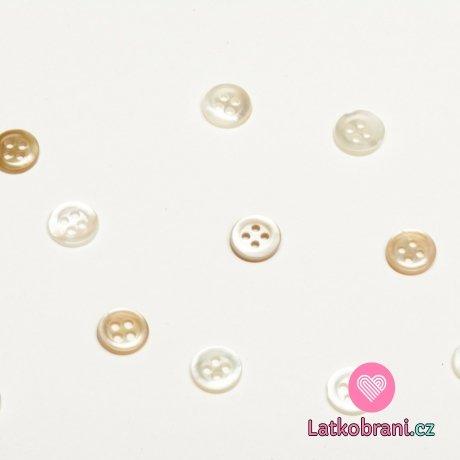 Knoflík kulatý, čtyřdírkový perleťový 9mm